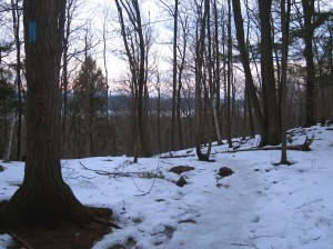 winter hike at dusk